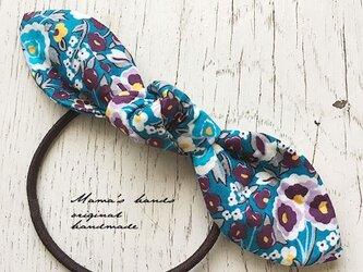 リバティ 青 紫 花 リボン ヘアゴム♪の画像