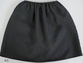 【wafu】薄地 雅亜麻 リネンペチコート ゴム調節 やさしい インナー スカート 肌着/ 黒色 p002a-bck1の画像