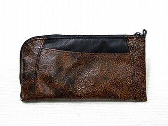 ハーフラウンド型 長財布(ブロンズエンボス×ブラック)の画像