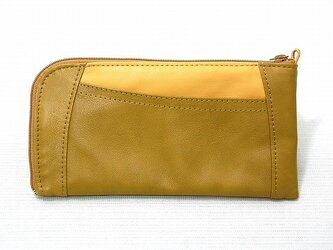 ハーフラウンド型 長財布(イエローコンビ)の画像