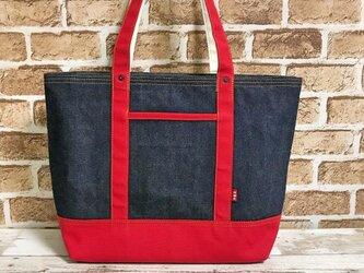 赤帆布トートバッグLサイズの画像