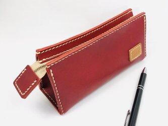 革のポーチ 箱型 AKA (刻印無料)の画像