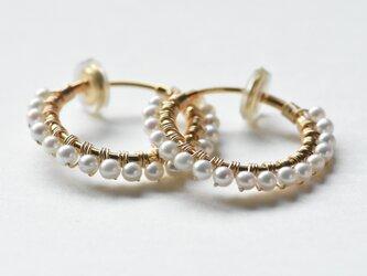 [EC] Freshwater pearl《M》Basic Hoop Ear Clipsの画像