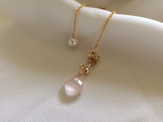 14kgf Rose quartz & Akoya pearls 2wayピアスの画像
