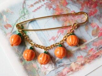おばけかぼちゃのブローチ(オレンジ)の画像