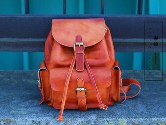 【受注製作】本革の収納たっぷり ポケット豊富なリュックサック バッグ かばん GR0101の画像