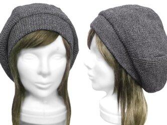 リブ編ニット/リブ付ベレー帽(ゆったり)◆ブラック×グレーの画像