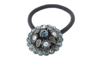 フランス 飾りボタン ヘアゴム ブルー[mazh-002]の画像
