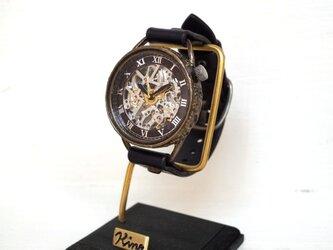 メカニックシルバー AT ブラック 真鍮 手作り腕時計の画像