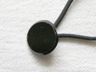フランスアンティーク・ボタンへアゴム/ジェットボタン《黒ガラス》(AFB-070)の画像