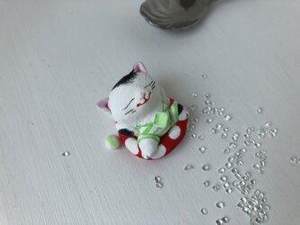 浮き輪猫さん(白黒)の画像