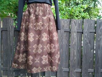 絣紬着物地(洗い張り済)タックギャザースカートの画像