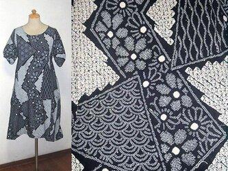 Sold Out着物リメイク♪短冊模様有松総絞り浴衣ワンピース♪ハンドメイド♪藍染め・木綿・コットン・有松絞りの画像