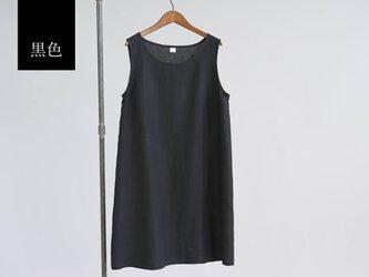 【wafu】薄地 雅亜麻 リネンペチワンピース やさしい インナー ワンピース 肌着 下着/黒色 p004a-bck1の画像
