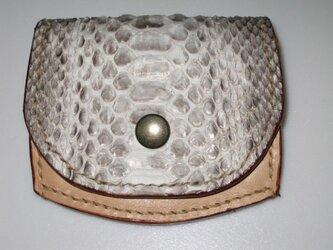 手縫い パイソンのコインケースの画像