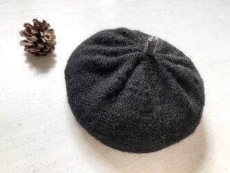 ニットベレー帽[ブラック]の画像