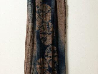 本藍絞り染め  シルク リネン大判マフラーの画像