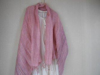 手紡ぎ・手織りのシルクショール ピンクの画像