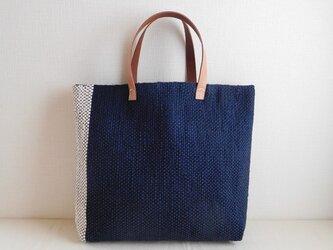 裂き織りバッグ  ネイビーの画像