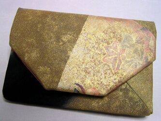 正絹 数寄屋袋 留袖 扇面に楓 クラッチバッグ 懐紙入れ の画像