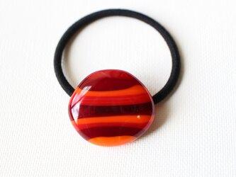 赤系ストライプ*ガラスのヘアゴムの画像