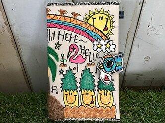 コウノトリ付ハワイアン刺繍手帳(B6サイズ)の画像