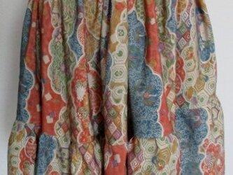送料無料 花柄の着物で作ったミニスカート 3735の画像