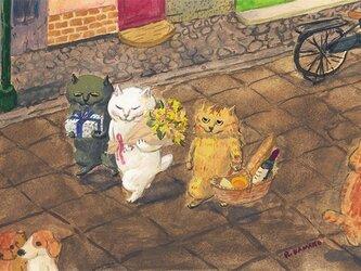 カマノレイコ オリジナル猫ポストカード「およばれ」2枚セットの画像