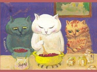 カマノレイコ オリジナル猫ポストカード「ジャムづくり」2枚セットの画像