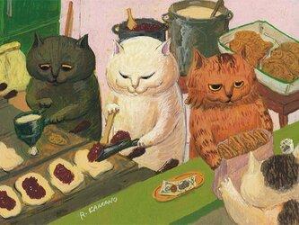 カマノレイコ オリジナル猫ポストカード「たい焼き屋さん」2枚セットの画像