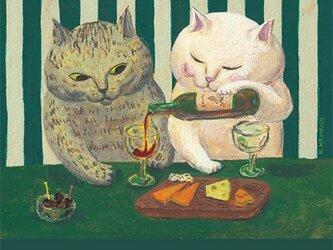 カマノレイコ オリジナル猫ポストカード「語らい」2枚セットの画像