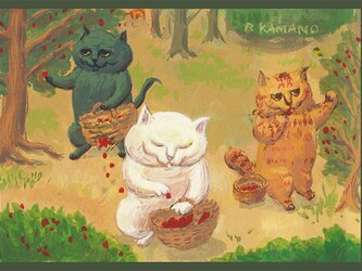 カマノレイコ オリジナル猫ポストカード「野いちご摘み」2枚セットの画像