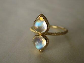 K18 Moon stone  Pear cabochon Ringの画像