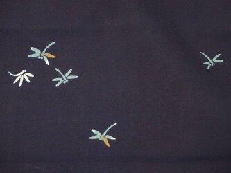 y0033 蜻蛉様浴衣木綿ハギレ140cm☆古布・古裂/布草履/ミニ着物/吊るし飾り/押絵材料/ハンドメイドの画像