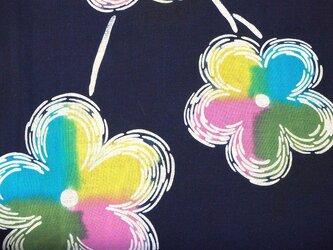 y0029 花様浴衣木綿ハギレ130cm☆古布・古裂/布草履/ミニ着物/吊るし飾り/押絵材料/ハンドメイドの画像