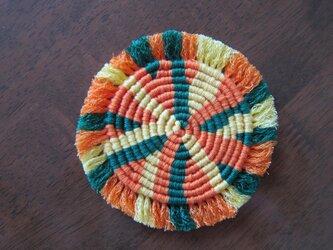 漂白剤が使えるマクラメ編み ぐるぐるコースター(M) ビタミンカラーの画像