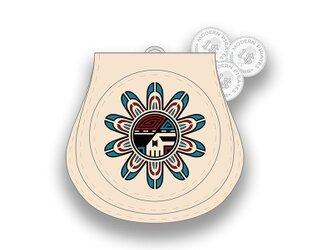 Leather Coin Purse / Sun Face Skull Design 001の画像