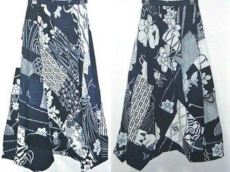 Sold OUt浴衣リメイク♪浴衣色々パッチワーク揺れるスカート♪イレギュラーヘム♪ハンドメイド♪1点物の画像