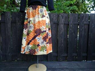 着物地古布リメイク ギャザースカートの画像