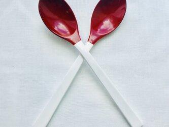 うるしスプーン 白×赤(本朱)の画像