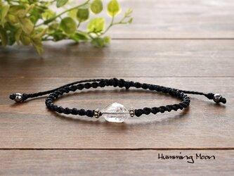 <Silver925>ハーキマーダイヤモンドのマクラメブレスレットの画像