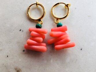 ピンク珊瑚ココビーズリングイヤリングの画像