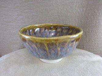 陶器 手びねりご飯茶碗(大)茶・白まだらの画像