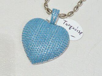 ターコイズ ペンダントトップ heartの画像