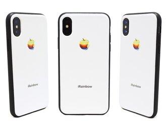 《3D RAINBOW APPLE》 リアルな虹りんご iPhoneX / iPhone10 レザーケースフルカバーの画像