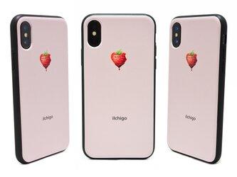 《iIchigo》チョコ いちご ハート  iPhoneX / iPhone10 レザーケースフルカバー(ピンク)の画像