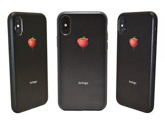 《iIchigo》チョコ いちご ハート  iPhoneX / iPhone10 レザーケースフルカバー(ブラック)の画像