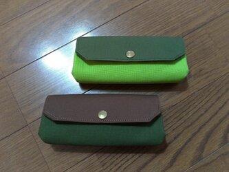 ころん長財布  帆布(茶色×深緑・深緑×黄緑)の画像