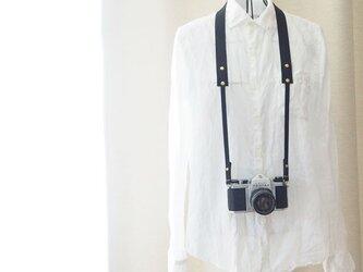 シンプル本革カメラストラップ 一眼レフ・ミラーレス用 ブラック【受注生産】の画像