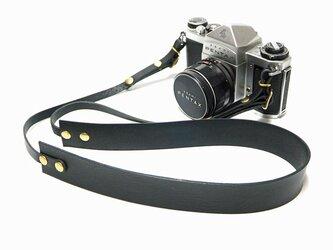 カメラストラップ シンプル 革 一眼レフ ミラーレス用 日本製オイルヌメ革使用 ブラックの画像